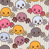 Seamless kawaii cartoon pattern with cute spiders. — Stock Vector