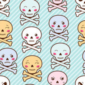 Seamless kawaii cartoon pattern with cute skulls. — Vector de stock