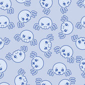 Seamless kawaii cartoon pattern with cute spiders. — Vecteur