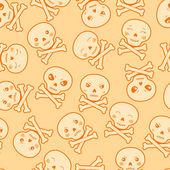 Seamless kawaii cartoon pattern with cute skulls. — Stock Vector