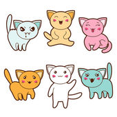 Set of kawaii cats with different facial expressions. — Stock Vector
