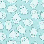Seamless kawaii cartoon pattern with cute ghosts. — Stock Vector