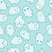 Seamless kawaii cartoon pattern with cute ghosts. — Stock Vector