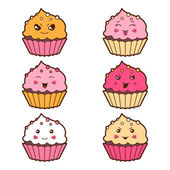 Set of kawaii cupcakess with different facial expressions. — Stok Vektör