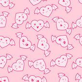 Seamless kawaii cartoon pattern with cute hearts. — Stock Vector