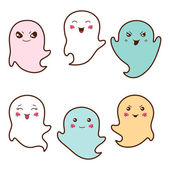Set of kawaii ghosts with different facial expressions. — Stock Vector