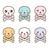 Set of kawaii skulls with different facial expressions. — Stock Vector