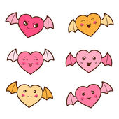Set of kawaii hearts with different facial expressions. — Stock Vector