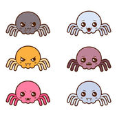 Set of kawaii spiders with different facial expressions. — Stock Vector