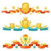 Decor with ribbons and awards in flat design style. — Stock Vector