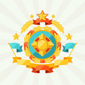 Background with ribbons and awards in flat design style. — Vector de stock