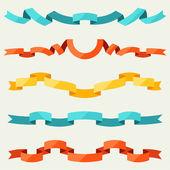 Düz tasarım stili dekorasyon için şeritler seti. — Stok Vektör