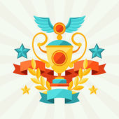 Background with ribbons and awards in flat design style. — ストックベクタ