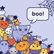 Halloween kawaii greeting card with cute doodles. — Vector de stock  #50627657