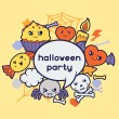 Halloween kawaii greeting card with cute doodles. — Vector de stock  #50627649