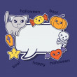 Halloween kawaii greeting card with cute sticker doodles. — Stock Vector #50627663