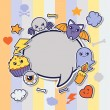 Halloween kawaii greeting card with cute sticker doodles. — Vector de stock  #50627665