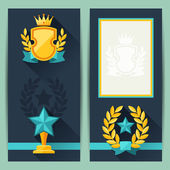 Certificate templates with awards in flat design style. — Stock Vector