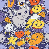 Seamless halloween kawaii pattern with sticker cute doodles. — ストックベクタ