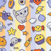Seamless halloween kawaii pattern with sticker cute doodles. — Cтоковый вектор