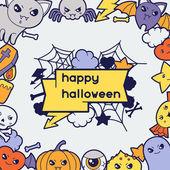 Halloween kawaii greeting card with cute doodles. — Stock Vector