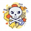 Halloween kawaii print or card with cute doodle skull. — Stock Vector