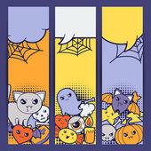 Halloween kawaii vertical banners with cute doodles. — Stock Vector