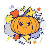 Halloween kawaii print or card with cute doodle pumpkin. — Cтоковый вектор
