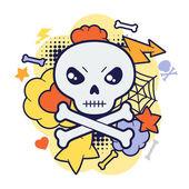 Halloween kawaii print or card with cute doodle skull. — Stock Vector
