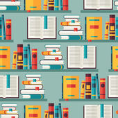 Seamless pattern with books on bookshelves in flat design style. — Stock Vector
