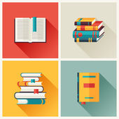 Set of book icons in flat design style. — Stock Vector