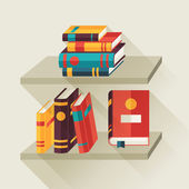 Card with books on bookshelves in flat design style. — Stock Vector