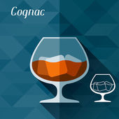 Illustration with glass of cognac in flat design style. — Stock Vector