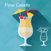 Illustration with glass of pina colada in flat design style. — Vetorial Stock