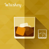 Illustration with glass of whiskey in flat design style. — Stock Vector