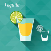 Illustration with glass of tequila in flat design style. — Stock Vector