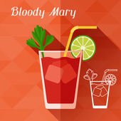 Illustration with glass of bloody mary in flat design style. — Stock Vector
