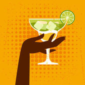 Illustration with glass of margarita and hand. — Stock Vector