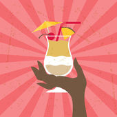 Illustration with glass of pina colada and hand. — Vetorial Stock