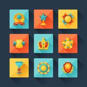 набор трофей и награды иконок в стиле плоский дизайн. — Cтоковый вектор