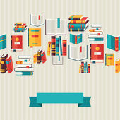 Seamless pattern with books in flat design style. — Vector de stock