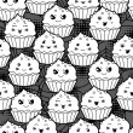 Seamless halloween kawaii cartoon pattern with cute cupcakes. — Stock Vector #51101601