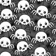 Seamless halloween kawaii cartoon pattern with cute spiders. — 图库矢量图片