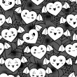 Seamless halloween kawaii cartoon pattern with cute hearts. — Vettoriale Stock