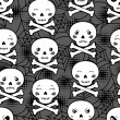 Seamless halloween kawaii cartoon pattern with cute skulls. — 图库矢量图片