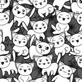Seamless halloween kawaii cartoon pattern with cute cats. — Stock Vector