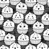Seamless halloween kawaii cartoon pattern with cute cupcakes. — Vecteur