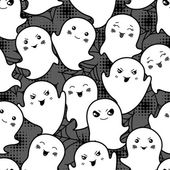 Seamless halloween kawaii cartoon pattern with cute ghosts. — Stock vektor
