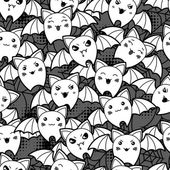 Seamless halloween kawaii cartoon pattern with cute bats. — Stok Vektör