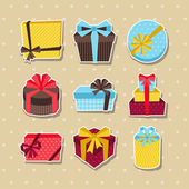 Celebration sticker icon set of colorful gift boxes. — Stockvector